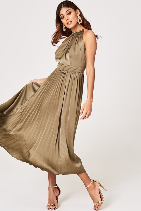 Thumbnail for your product : Little Mistress Laurie Khaki Satin Halter Pleated Midaxi Dress