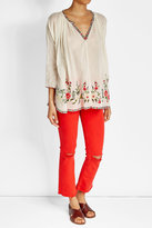 Mes Demoiselles Embroidered and Printed Cotton Top