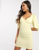 Asos Design DESIGN puff sleeve cup detail mini dress