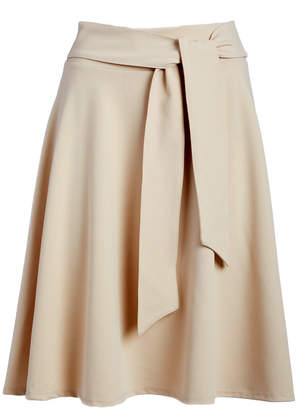 Bella Flore Women's Casual Skirts TAUPE - Taupe Tie-Waist A-Line Skirt - Women & Plus