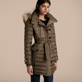 Burberry Slim Fit Down-filled Parka with Fur Trim