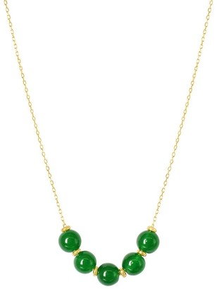 Overstock 14K Green Jade Beads Slide Necklace 18""