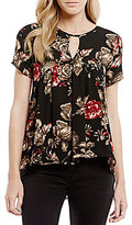 Moa Moa Floral-Print Keyhole Neck High-Low Babydoll Top