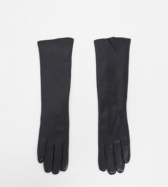 My Accessories London Exclusive gloves with leather look long touch screen slouch in black