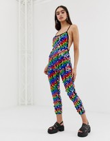 Jaded London rainbow sequin catsuit