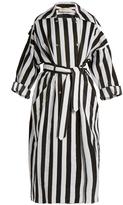 Nina Ricci Double-breasted striped-taffeta trench coat