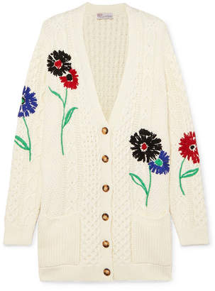 RED Valentino Embroidered Cable-knit Cotton Cardigan - Ivory