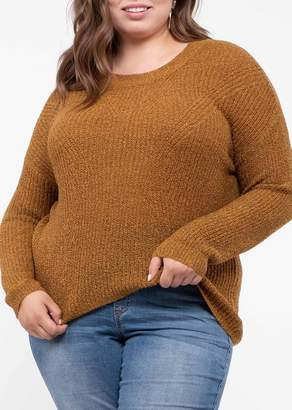 Blu Pepper Keyhole Cutout Knit Sweater (Plus Size)