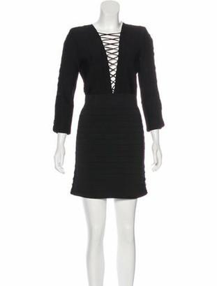 Balmain Lace-Up Bodycon Dress Black