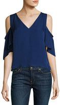 Ramy Brook Judy Crepe Cold-Shoulder Top, Navy