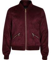 River Island Girls burgundy faux suede bomber jacket