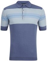 John Smedley Men's Easdale Sea Island Cotton Polo Shirt Baltic Blue