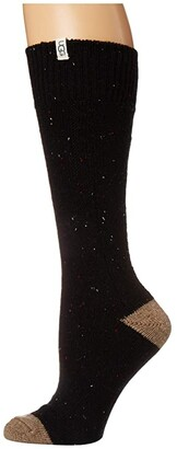 UGG Beatrice Boot Sock (Black Heather) Women's Crew Cut Socks Shoes