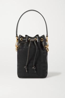 Fendi Mon Tresor Mini Leather-trimmed Canvas Bucket Bag - Black