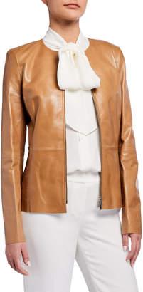 Lafayette 148 New York Kayla Zip-Front Lacquered Lambskin Jacket