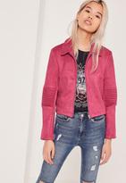 Missguided Petite Exclusive Faux Suede Biker Jacket Pink
