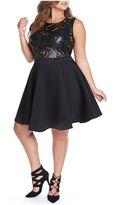 Fashion to Figure Venus Scroll Faux-Leather Fit & Flare Dress-Plus