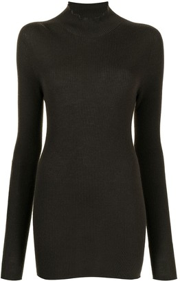 Rick Owens Mock Neck Ribbed Wool Sweater