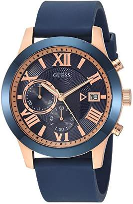 GUESS Comfortable Iconic + Rose Gold-Tone Stain Resistant Silicone Chronograph Watch with Date. Color: (Model: U1055G2)