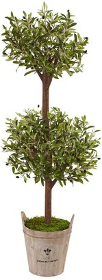 Nearly Natural 5-foot Olive Tree in Farmhouse Planter