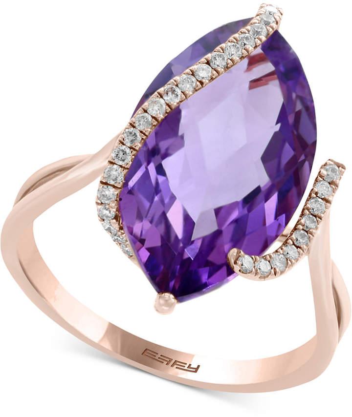 Effy Pink Amethyst (6-5/8 ct. t.w.) & Diamond (1/8 ct. t.w.) Ring in 14k Rose Gold