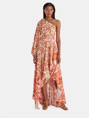 AMUR Piper Cold Shoulder Floral Silk Maxi Dress