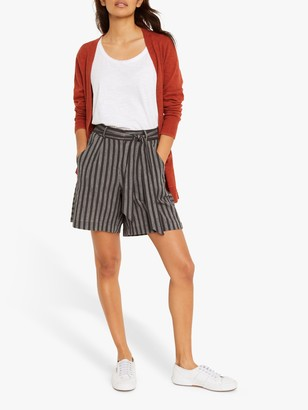 White Stuff Maya Striped Shorts, Charcoal
