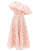 Giambattista Valli Sunflower-lace Ruffled One-shoulder Dress - Womens - Light Pink