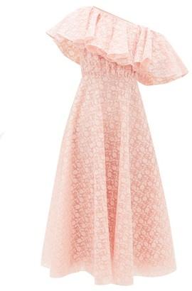 Giambattista Valli Sunflower-lace Ruffled One-shoulder Dress - Light Pink