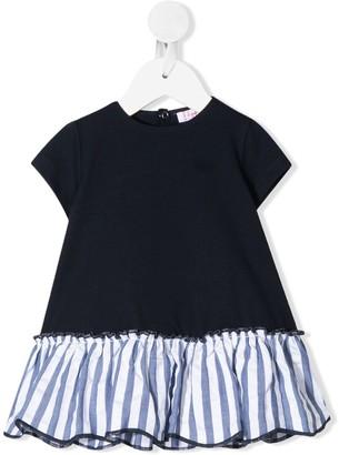 Il Gufo Short Sleeve Gathered-Striped Dress