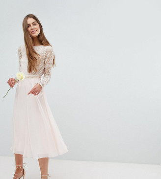 Amelia Rose Tall Embroidered Long Sleeve Midi Dress With Plunge Back Detail-Pink