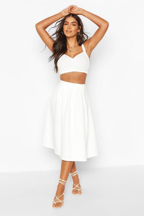 boohoo Basic Box Pleat Midi Skirt