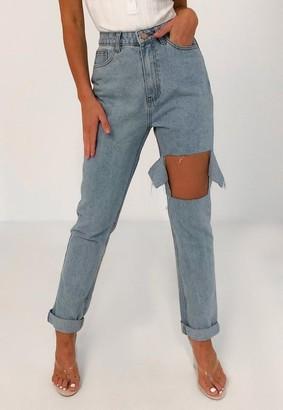 Missguided Light Blue Wrath Blast Knee Distressed Jeans