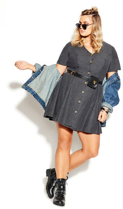 City Chic Soft Denim Dress - black