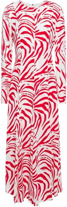 MSGM Zebra-print Crepe Maxi Dress