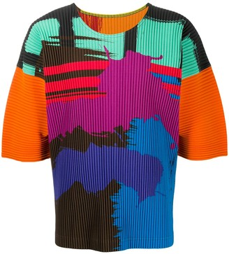 Homme Plissé Issey Miyake pleated abstract T-shirt