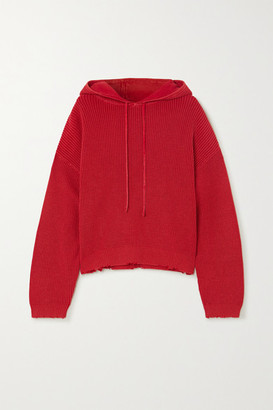 RtA Distressed Cotton Hoodie - Red