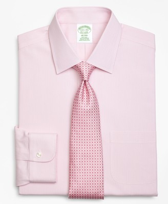 Brooks Brothers Milano Slim-Fit Dress Shirt, Non-Iron Tonal Framed Stripe