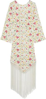 Rixo Claudia Fringed Embroidered Crepe Midi Dress