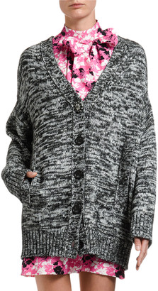 No.21 Melange-Knit Boyfriend Cardigan w/ Lace