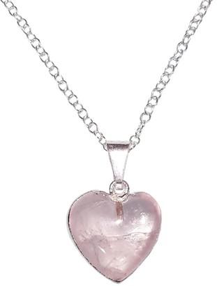 Rose Quartz Gemstone Heart Shaped Necklace Silver