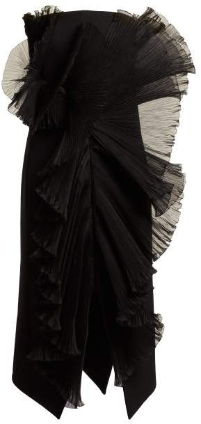 Givenchy Strapless Ruffle Trimmed Wool Midi Dress - Womens - Black