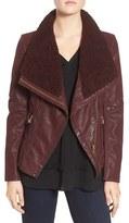 GUESS Women's Faux Leather Moto Jacket With Faux Fur Trim