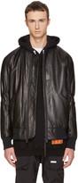 Helmut Lang Black Leather Bomber Jacket