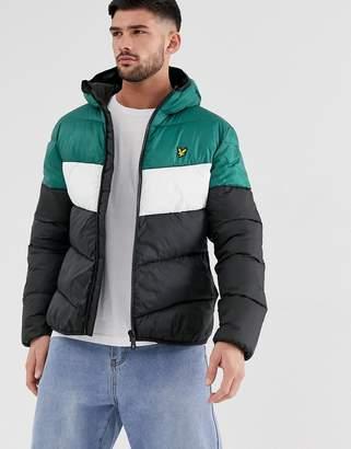 Lyle & Scott colour block padded jacket-Black