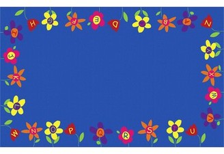"Kid Carpet Alphabet Garden School Blue/Yellow/Green Area Rug Rug Size: Rectangle 7'6"" x 12'"