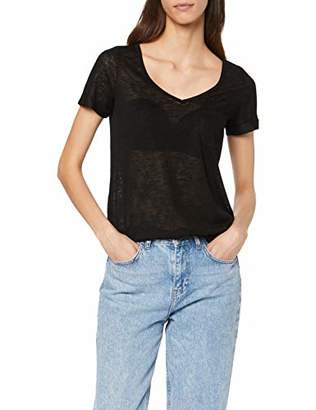 Object Women's Objtessi Slub S/s V-Neck Noos T-Shirt, Black, 12 (Size: )