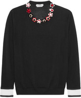 Fendi Embellished Cashmere And Silk-blend Sweater - Black