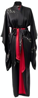 Castlebird Rose Le Perroquet Maxi Silk Kimono - Black