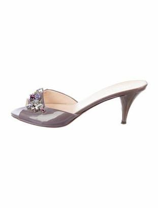 Prada Patent Leather Crystal Embellishments Slides Purple